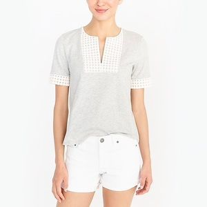 J Crew NWT embroidered eyelet tee - grey & cream